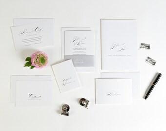 Einladung Hochzeit Glamour inklusive Banderole und Umschlag klassisch in rosa weiß