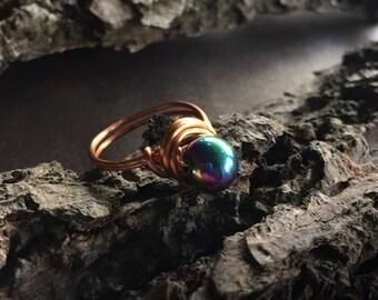 Rainbow Hematite Ring