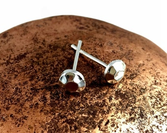 Faceted Round Stud Earrings in Fine Silver or 24k Gold