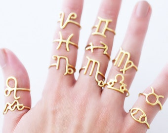 Sterling Silver Horoscope Rings / Personalized Astrology Rings / Zodiac Rings / Gold Plated Astronomy Rings / Personalized Jewelry