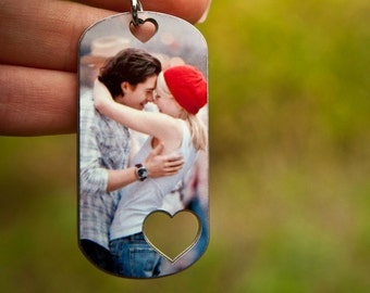 Personalized Photo Keychain, Picture Keychain, Photo Keepsake, Handstamped Keychain, Custom Keychain, Gift for Her, Gift for Him, I Love You
