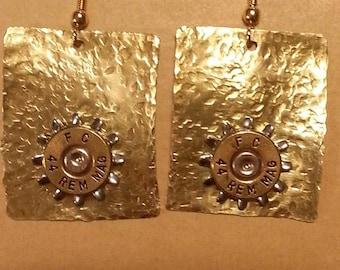 44 Mag Brass Earrings