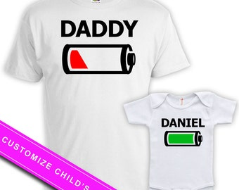 Matching Father And Baby Father Daughter Shirts Daddy And Son Gifts Dad And Daughter Matching Shirts Battery Full Empty Bodysuit MAT-708-709