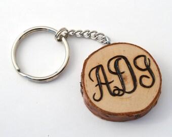 Monogram Custom Wooden Keychain Pyrography Wood Burning