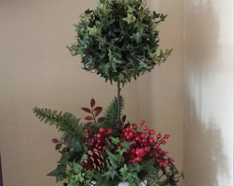 Holiday topiary ivy topiary with pine cones and berries fall decor natural Christmas decor cabin decor cottage chic decor elegant mantle