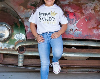Biggest Sister Shirt - Big Sister Gift - Biggest Sister Little Sister - Glitter Shirt - Pregnancy Announcement - New Baby