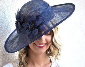 Navy Sinamay Derby Hat, Womens Tea Party Hat, Church Hat, Derby Hat, Fancy Hat, Ivory  Hat, Tea Party Hat, wedding hat