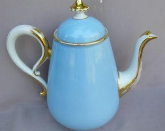 French Antique Vieux Paris Porcelain Coffee Pot - Gold Blue Pastel Design - French Country Cottage Kitchenware - Cafe au Lait Petit Dejeuner