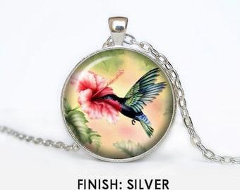Hummingbird necklace Vintage Hummingbird pendant Hummingbird jewelry pink floral colorful bird Pendant chain jewelley 031