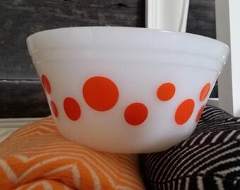 Federal Glass, Orange Polkadot Bowl