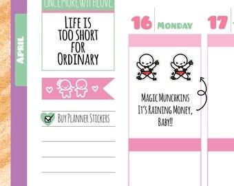 Munchkins - Stripper Make It Rain Money or PayDay Planner Stickers (M179)