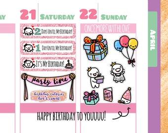 Munchkins - Happy Birthday Glitter Countdown Planner Stickers (M181)