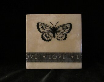 Set of four Beautiful Handmade tile Butterfly/Love Coasters