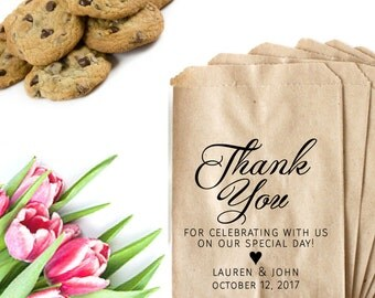 Wedding Thank You Stamp - Thank You For Celebrating With Us - Custom Wedding Stamp - Candy Table Bags - Cookie Wedding Favor Bag