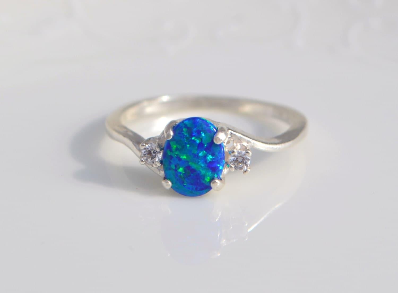 silver lab opal ring dark blue opal ring blue by