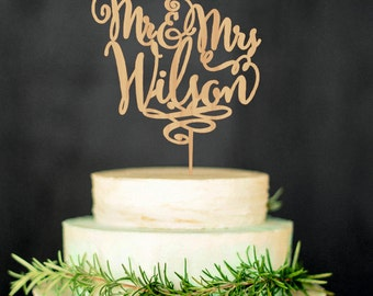 Personalized Last Name Wedding Cake Topper Mr and Mrs Wedding Topper Wood Cake Topper Custom Topper Outdoor Wedding