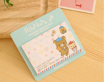 French Rilakkuma with Baguette Bread Sticky Notes - Cute Bear Sticky Notes / Kawaii Stationery / Cute Stationary / Cute School Supplies
