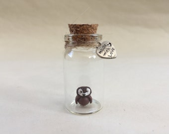 Owl in a tiny glass bottle, Unique Handmade Ornament unusual OOAK gift, give a different present