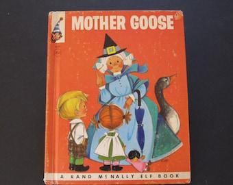 MOTHER GOOSE nursery rhymes vintage Rand McNally ELF book Anne Sellers Leaf 1958 hardback Nice!!