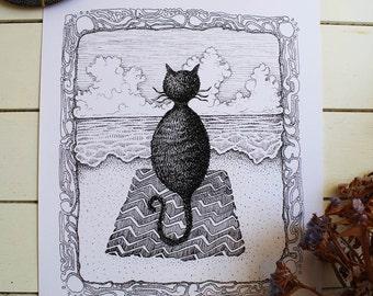 Cat on the Beach illustration, original art print