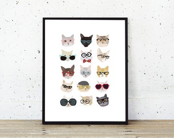 Cat Poster - Cat Printable Art - Cat Glasses - Hipster Animals in Clothes Print Download - I Love Cats/Cat Lover Gift/Feline/Meow/Cat Gifts