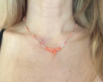 Pink coral necklace.  Beach jewelry.  Handmade coral necklace.  OOAK!