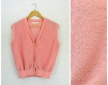 Vintage 80s Pink Sweater Vest | Popcorn Boucle Knit Sweater Button Down Sweater | Preppy Bubblegum Pink Pastel Sweater | Devon | Sm Med