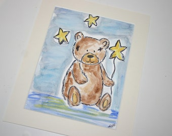 SALE teddy watercolour, original watercolour, original painting, teddy bear, vintage bear, loved bear
