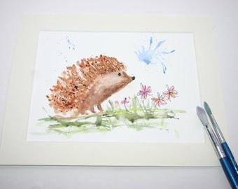 Original Watercolour Painting, Hedgehog Painting, Woodland Painting,  Hedgehog original, Woodland Nursery Decor