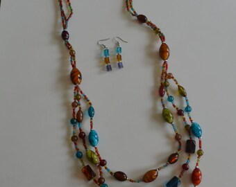Earth Tone Multi-stand Multi-color Glass Beaded Necklace & Earring Set