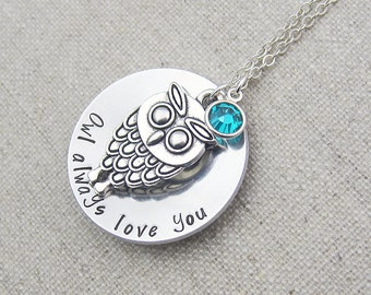 Personalized owl necklace, silver chain, swarovski crystal birthstone, owl always love you, gift for her, owl jewelry, birthday gift