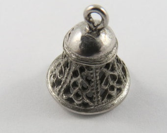 Smaller Mechanical Bell That Makes a Nice Loud Ring Silver Charm of Pendant.