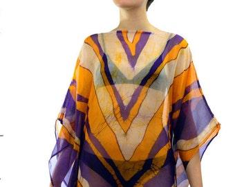 Batik Resort wear.hand made Batik kaftan.Light weight elegant beach cover up.Women's beach kaftan.yellow and purple kaftan