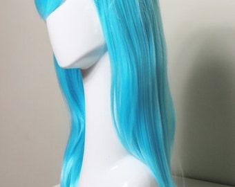 Long Straight Aqua wig (22 inches)