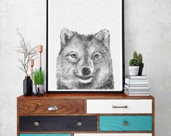 wolf print, woodlands animal print, nursery animal wall art, kids printable, woodlands wolf, black and white nursery decor,nursery Printable