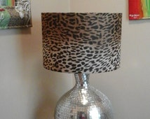Sale Large Cheetah print ombre fabric covered drum lamp shade *SHADE ONLY* with interior rhinestone trim U.S. shipping included
