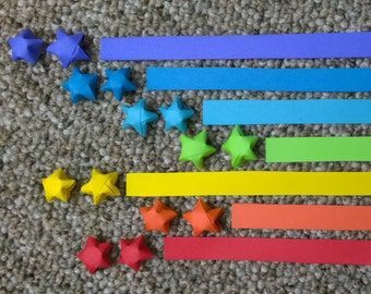 Origami Lucky Star Paper Strips, Rainbow Colors, 140 Strips