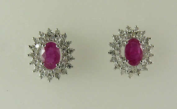 Ruby 0.98ct Earrings 14k White Gold With Diamonds 0.50ct