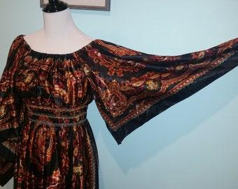 1970s Vintage Handkerchief Maxi Dress with Kimono Style Sleeves