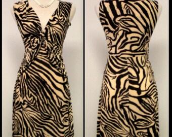 Criss-Cross Cute Darling Sleeveless Short Dress Animal Print Regular Size S/M/L.