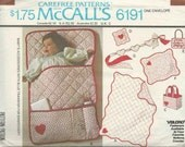 Sewing Pattern - Baby's Accessories Quilts Bunting Bag Pin Cushion Door Sign Pillow Sham Crib Toy McCalls 6191 OSZ
