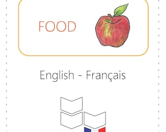 PRINTABLE Vocabulary Cards - Food (Bilingual: English to French)