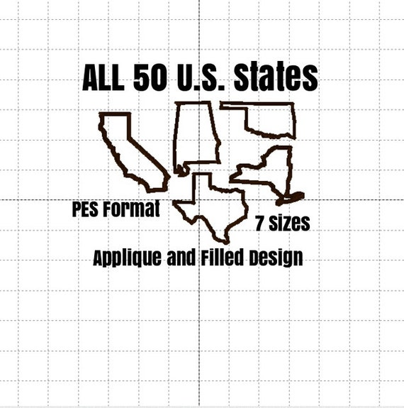 50 United States Applique AND Filled Designs PES FORMAT only included 7 Sizes in each design