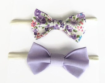 Set of 2 Lavender spring bows, lavender spring classic baby bows, lavender baby headbands, nylon headbands, infant bows, toddler bows