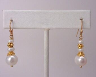 18k Gold Vermeil and Pearl Dangle Earrings