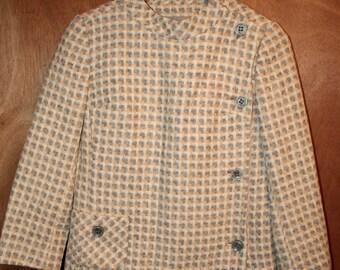 1960s Jack Feit Moto Blazer Jacket Multi-Colored Tweed Women's Vintage Sz 8 Gold Gray Cream