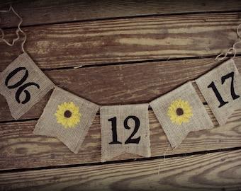 Save the Date ~ Burlap Wedding Banner/Bunting ~ Engagement Birthday Photo Prop BUNTING Sunflower custom