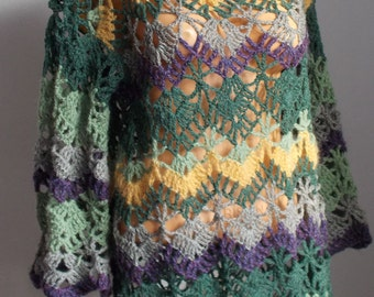 Hand Crochet Colorful Long Sleeves Women Tunic Christmas Sweater Mini Dress