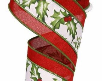 RIBBON - Wired Ribbon - Holly Ribbon - Holly - Berries Ribbon - Gold Ribbon - Wreath - RG8581