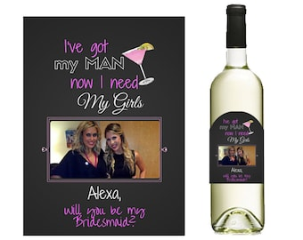 Will you be my bridesmaid-Will you be my maid of honor-Custom Wine Label